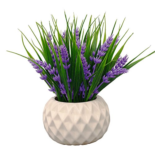 - VGIA Modern Artificial Potted Plant for Home Decor Lavender Flowers and Grass Arrangements Tabletop Decoration