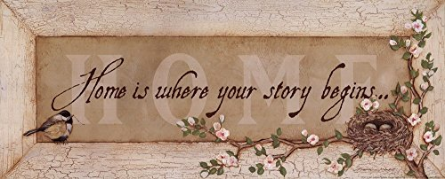 Home is Where Your Story Begins by Stephanie Marrott Art Print, 20 x 8 inches (Where Is Sign Your Begins Home Story)