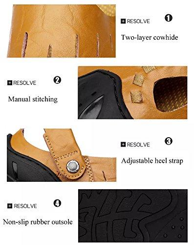 Sandales Fermées Fisherman De Chaussures Décontractées L Homme Été Plage Respirant Marche brown Cuir Randonnée Leather TTYwHr