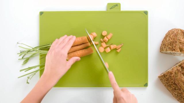 Joseph Joseph Index Plastic Cutting Board Set with Storage Case Color-Coded Dishwasher-Safe Non-Slip, Large, Silver/Sky