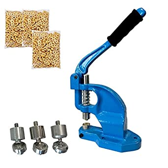 Tenive Manual Heavy Duty Hand Press Grommet Machine¨C Hand Eyelets Hole  Punch Tool with 3 Die Sets - #0 #2 #4 - 900 Grommets - A Perfect Hand Press