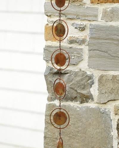 Ancient Graffiti Flamed Circle Rain Chain Copper Plated by Ancient Graffiti by Ancient Graffiti
