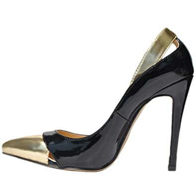 13e4637fd36 Loslandifen Womens Closed Pointed Toe High Heels Mix Gold Leather Pumps(302 -1PingJin35