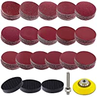 Kirmax 192 Pcs Sanding Discs Pads 50mm/2 Inch Hook and Loop Pads with Shank Backing Pad or Foam Buffing Pad 60-3000…