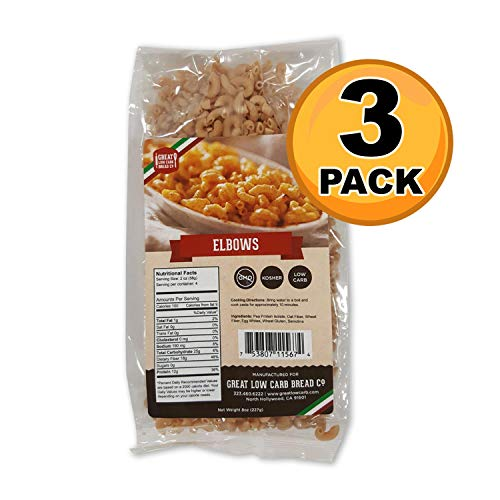 Low Carb Pasta, Keto Pasta, Great Low Carb Bread Company ,7g Net Carbs, 12g of Protein, Non GMO, (Elbow, 3 Pack)