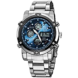 ASJ Men's Silver Fashion Quartz Analog Digitals LED Sport Bracelet Wrist Quartz Gift Watch AS1019