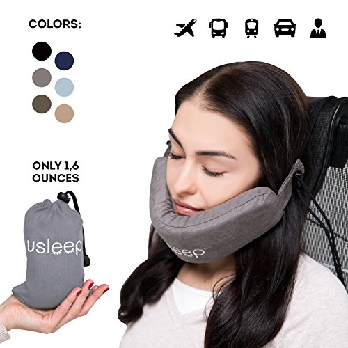 New premium travel pillow set – v neck pillow – high long wide neck compatible for women men kids - travel cervical neck pillow (Gray) (Times Square Chair Leather)
