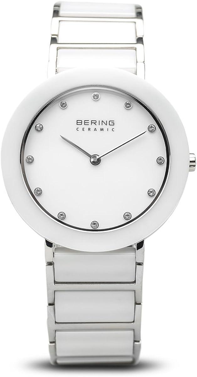 Bering Ceramic - Reloj analógico de mujer de cuarzo con correa blanca - sumergible a 50 metros
