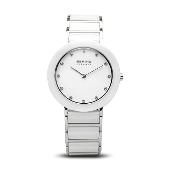Bering Ceramic - Reloj analógico de mujer de cuarzo con correa blanca - sumergible a 50 metros: Amazon.es: Relojes