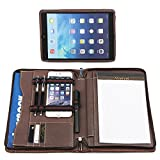 Coface Genuine Leather Portfolio Professional Business Zipper Padfolio with Deatchable iPad Stand for iPad 2/3/4