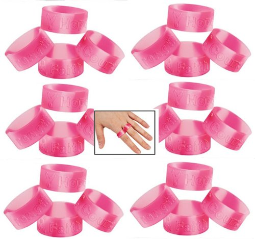 Lot Of 96 Pink Ribbon Camo Rings - Stretch Silicone - Breast Cancer Awareness by FX