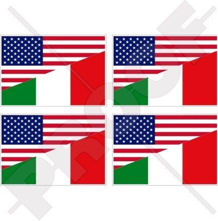 Flag Italy Helmet - USA United States of America & ITALY Flag, American & Italian 2