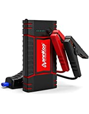 Car Jump Starter - ANNKOO Quick Charge IP65 Portable 450A Peak Current (Up to 4.0L Gas or 2.5L Diesel Engine) Phone Power Bank Auto Battery Charger Pack Booster Output, with LED Light, Black/Red