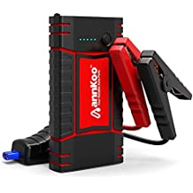 Car Jump Starter - ANNKOO Dual Quick Charge IP65 Portable 450A Peak Current (Up to 4.0L Gas or 2.5L Diesel Engine) Phone Power Bank Auto Battery Charger Pack Booster Output, with LED Light, Black/Red