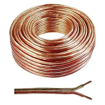 Wire4U® - Cable para altavoz (2 x 0,50 mm, 50 hilos de alambre en 10, 20, 50, 100 m) 20 m transparente