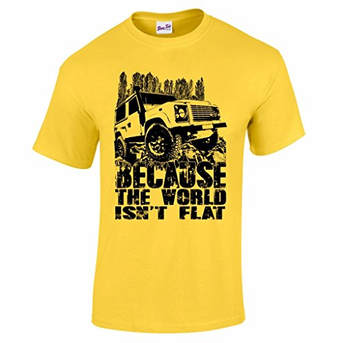 Men's Because The World Isn't Flat 4X4 Off-Road Racing CCV RTV Graphic Tee Yellow XXL