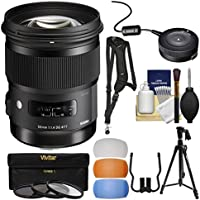 Sigma 50mm f/1.4 ART DG HSM Lens with USB Dock + 3 Filters + Tripod + Strap + Diffusers + Kit for Canon EOS Digital SLR Cameras