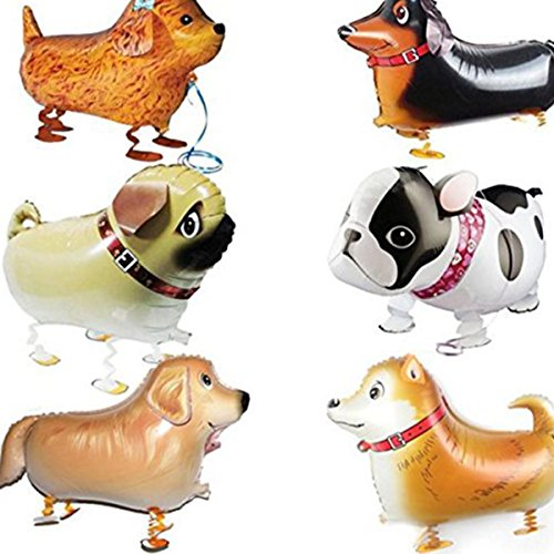 6 Pcs Walking Animal Balloons Pet Dog balloons, Puppy Dogs Birthday Party Supplies Kids Balloons Animal Theme Birthday Party Decorations