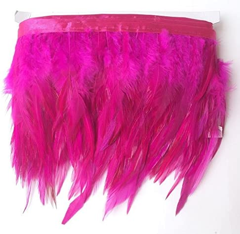 Rooster Hackle Feather Trim 10-12 inch in Width for DIY Sewing Crafts Decoration Red, 1 Yard