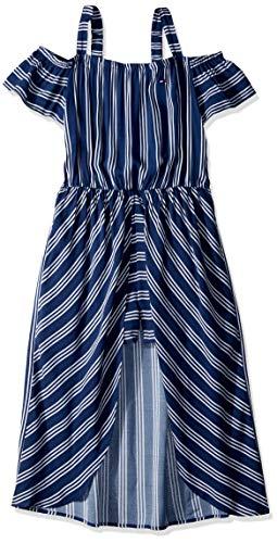 Tommy Hilfiger Big Girl's Big Girls' Short Sleeve Fashion Dress Dress, tulip flag blue, S7