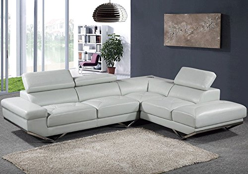1PerfectChoice Contemporary L-Shaped Sectional Sofa Sky Top Grain Leather Headrests Bluetooth