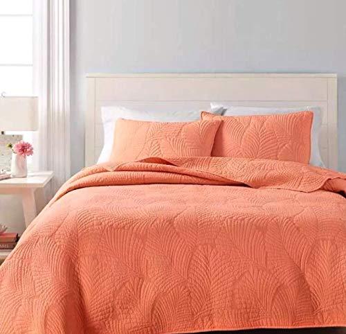 Martha Stewart Collection Reversible Quilt - Atlantic Palm Coral Orange - King ()