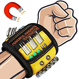 Fathers Day Gifts Magnetic Wristband – Dad Gifts Magnetic Work Wristband with 15 Powerful Magnets for Holding Tools, DIY…