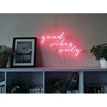 Good Vibes Only Real Glass Neon Sign For Bedroom Garage Bar Man Cave Room Home Decor