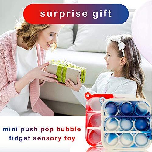 Mini Push Pop Bubble Fidget Sensory Toys, Mini Simple Dimple Fidget Toy Keychain Stress Relief Toys , Soft Silicone Stress Reliever Office Desk Toy, Gift for Dad/Mum/Classmates/Boys/Girls/Friends