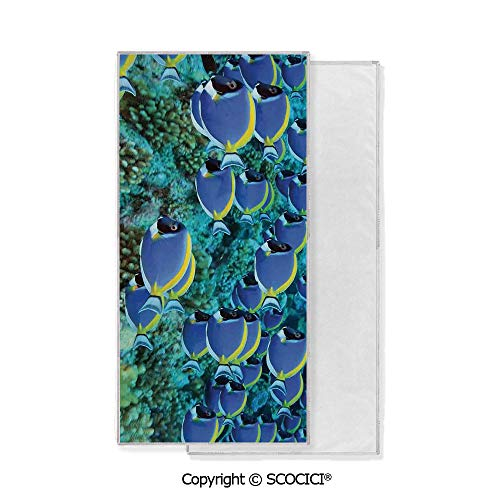 - Long-Lasting and Soft Lightweight Quick-Dry Polyester Towel,School of Powder Blue Tang Fishes in the Coral Reef Maldives Deep Seas (15x30 inch),Suitable For Camping, Running, Cycling, Gym,Highly Abso