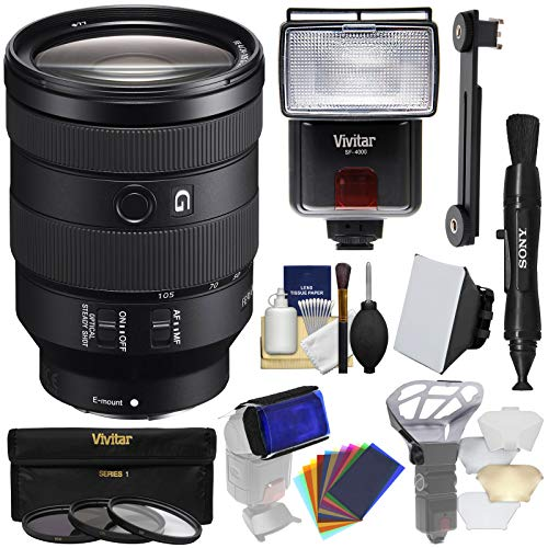 Sony Alpha E-Mount FE 24-105mm f/4.0 G OSS Zoom Lens with 3 UV/CPL/ND8 Filters + Flash + Soft Box + Diffusers + 12 Color Gels + Kit (Camcorders 70 Optical Zoom)