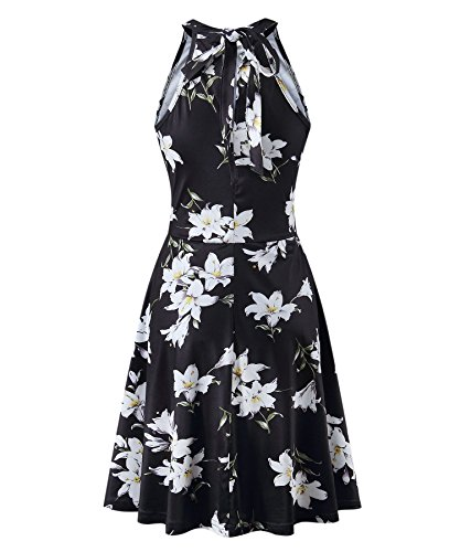 Halter Off Sleeveless Shoulder Casual Summer Floral3 Sundress BIKATU Women's Dress wRxpt
