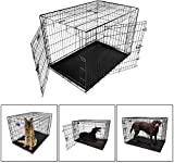 iMounTEK 【XL 42 INCH】 Folding Metal Pet Dog Puppy Cat Cage Crate Kennel W/Tray. 2 Doors Wire Cage for Training, Removable & Washable Pan Tray [Rust Resistant] Quick Assembly! Review