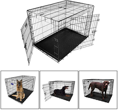 iMounTEK 【XL 42 INCH】 Folding Metal Pet Dog Puppy Cat Cage Crate Kennel W/Tray. 2 Doors Wire Cage for Training, Removable & Washable Pan Tray [Rust Resistant] Quick Assembly!