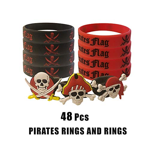 (Cleverplay Pirate Party Favors Supplies with 24 Pack Caribbean Pirates Silicone Wristbands Bracelets and 24 Pack Pirate Toy Rings Great for Kids Birthday Parties and Pirate Events)