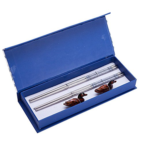 4 (2 pairs) Silver Stainless Steel Chopsticks & Mandarin Duck Holders Set In Gift Box by THY COLLECTIBLES