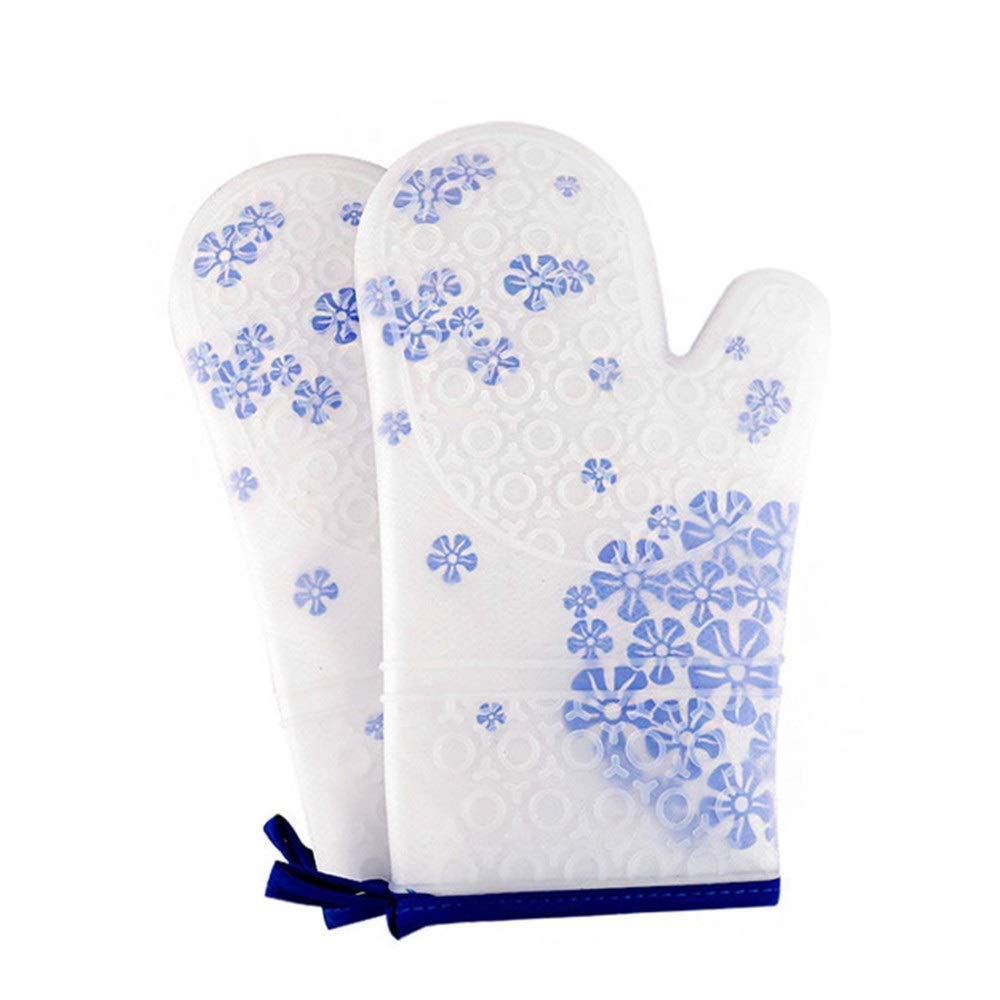 Bac bac Oven Mitts,1 Pair Silicone Heat Resistant Oven Gloves Waterproof Elastic Non-Slip Thick Oven Mitts with Cotton Protection for Kitchen Cooking, Baking, Grilling by Bac bac