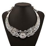XJG Antique Silver Dragon Flaying Ball Charm Pendant Collar Necklace