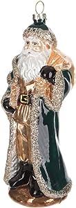 Robert Stanley Gold Santa with Cloak Blown Glass Ornament, Jolly Old Saint Nicholas, Christmas Around The World (Green)
