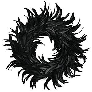 Touch of Nature Cocktail Feather Wreath, 15-Inch, Black 11