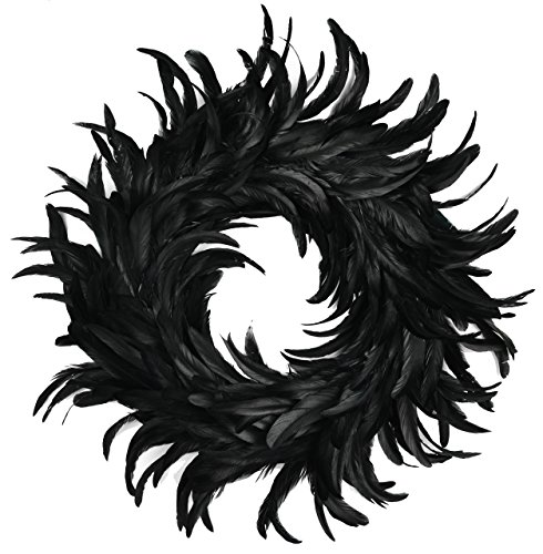 Halloween Wreaths (Touch of Nature Cocktail Feather Wreath, 15-Inch, Black)
