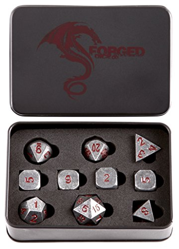 Forged Dice Co.. Metal Polyhedral Dice (Set of 10 Polyhedral (Extra D6s) w/Tin, Iron w/Red Numbers 10 piece Set of 10 Polyhedral (Extra D6s) w/Tin)