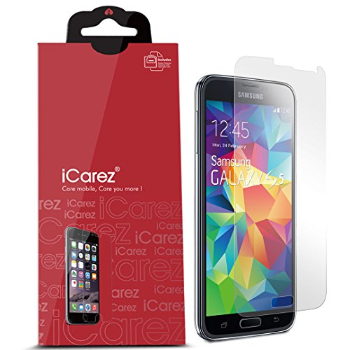 iCarez [Anti Glare] Matte Screen Protector For Samsung Galaxy S5 Easy Install with Lifetime Replacement Warranty [3-Pack] - Retail Packaging