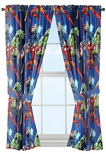 Marvel Avengers Blue Circle Microfiber Curtain Panel Pair with Tiebacks Set, 84 inches wide (42 inches/panel) 63 inches long