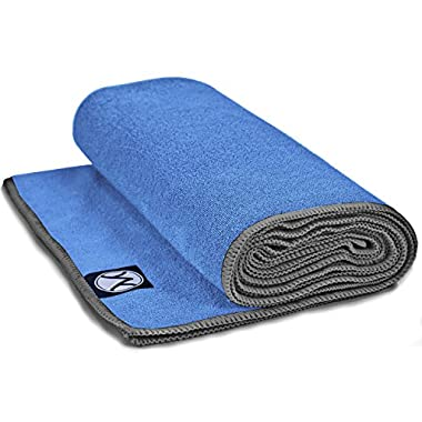 Yoga Towel 24  x 72  by Youphoria Yoga (Blue Towel / Gray Stitching) - Improve Mat Grip During Bikram, Ashtanga, and Hot Yoga Sessions - Ultra Absorbent, Machine Washable Microfiber, Yoga Mat Length Towels - Stop Slipping, Order Today!
