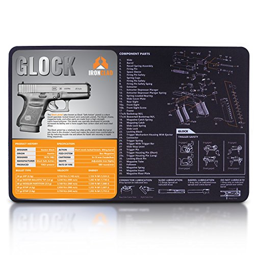 Glock Gun Cleaning Mat - 3mm Neoprene - 17' x 11' Waterproof & Oil Resistant Hand Gun Cleaning Mat - Detailed Diagram and Assembly Instruction 9mm Gun Cleaning Mat - Perfect for Handgun Pistol Revolve