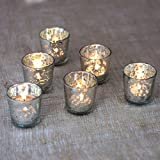 Luna Bazaar Vintage Mercury Glass Candle Holders (2.5-Inch, Liquid Motif, Silver, Set of 6) - For Use with Tea Lights - For Parties, Weddings, and Homes