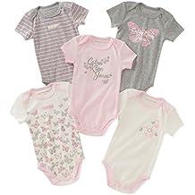 Calvin Klein Baby Girls' Assorted Short Sleeve Bodysuit (Pack of 5)
