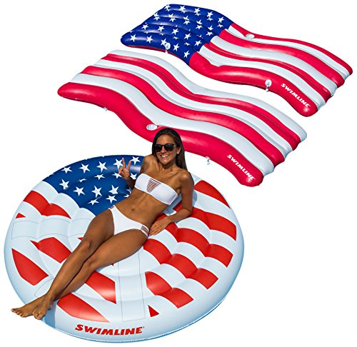 Swimline American Flag Swimming Pool Floats Combo Pack
