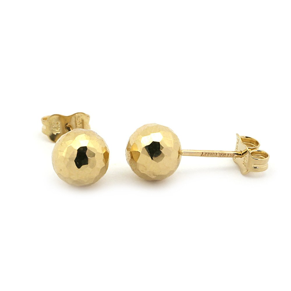 14k Yellow Gold 7mm Diamond Cut Ball Stud Earrings